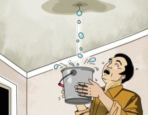 Cartoon of man holding bucket to catch big water droplets coming through ceiling