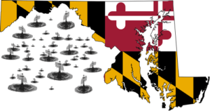 Rain drops fall around Maryland