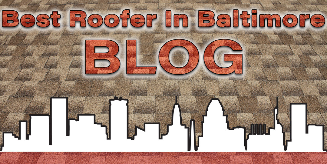 Best Roofer In Baltimore Blog written in semi-transparent text over a newly shingled roof and above the Charm City Roofing skyline