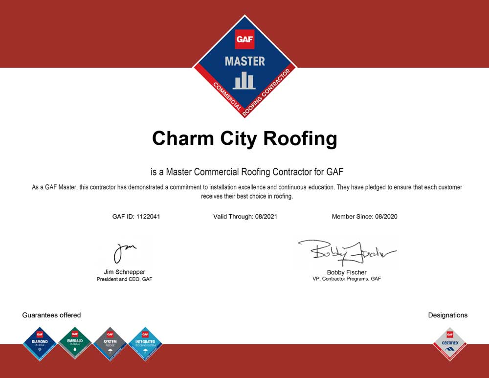 GAF Commercial Roofing Master Certificaion